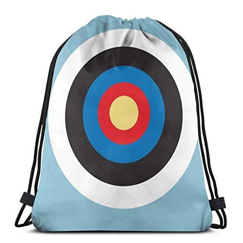 OPLKJ Bulls Eye Right On Target Roundel Archery Mod Hit On Blue Drawstring Backpack Bag Lightweight Gym Travel Yoga Casual Snackpack Sac à bandoulière pour la randonnée Natation plage