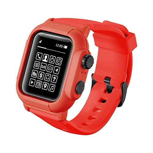 Qianyou Kompatibel mit Apple Watch 38mm Series 3/2/1 Armband Wasserdicht mit Hülle, [IP68] Ersatzband Schutzhülle Integrated PC+TPU Sport Vollschutz Uhrenarmband für Schwimmen Tauchen, Rot