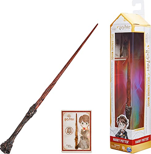 Wizarding World Harry Potter - Authentischer Harry Potter Zauberstab aus Kunststoff mit Zauberspruch-Karte, ca. 30,5 cm