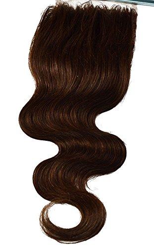 100 % cheveux humains vierges, texture ondulée, dentelle suisse, fermeture sur le dessus, 10,2 x 10,2 cm, raie libre avec nœuds décolorés, mélange fon