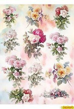 Papel de Arroz Decoupage Cadence Rosas Beig y Rosas 30x41cm. Ref. 273