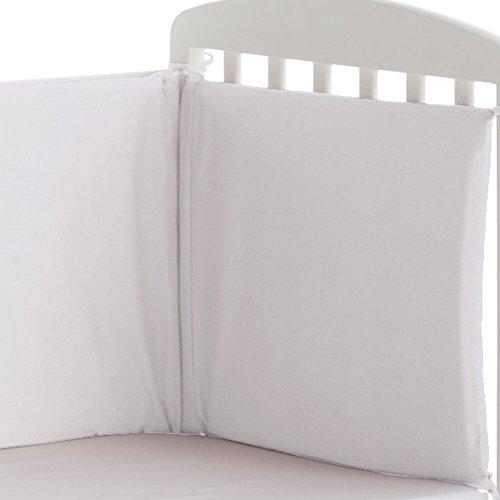 Pekebaby Protector liso de cuna 60/70/80 desenfundable (185 x 43 cm) BLANCO