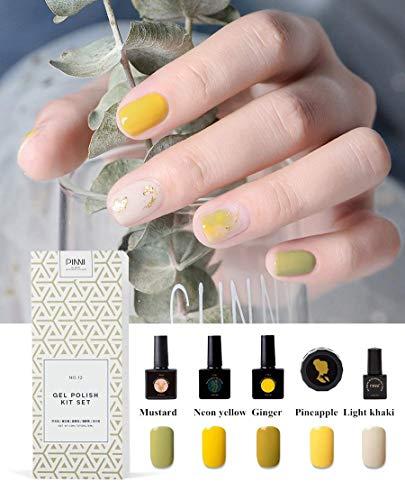 PINNI Esmaltes en Gel Paquete de Regalo 5 Colores Semipermanentes para Manicura Nail Art UV LED Kit Set de Pintauñas en Gel, Limonada (mostaza/amarillo neón/amarillo jengibre/piña/caqui claro)