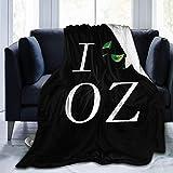 Shichangwei Manta de forro polar suave y cálida para sofá cama, diseño con texto en inglés 'I Love OZ'