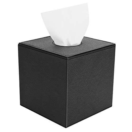Luxspire PU Leder Kosmetiktücherbox, Quadratisch Rollenpapier Tücherbox Tissuebox mit Magnetabdeckung und nett Stiche für Esszimmer Badezimmer Schlafzimmer Auto Büro - Schwarz