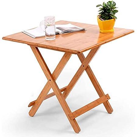 Table Salle à Manger Pliable Petit Table d'appoint Carrée Bambou Bureau d'ordinateur Portable Plateau de Snack Table de Cuisine Rétro pour Bar Café Restaurant Camping Table de Travail Maison 60*60cm