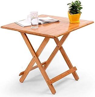 Table Salle à Manger Pliable Petit Table d'appoint Carrée Bambou Bureau d'ordinateur Portable Plateau de Snack Table de Cu...