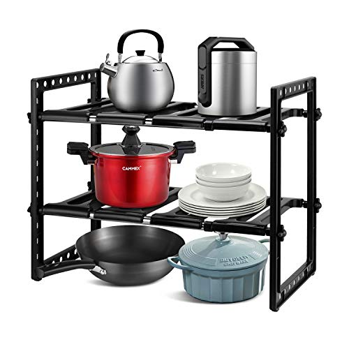 Qisiewell - Scaffale sottolavello, per cucina, portaspezie, regolabile in altezza e lunghezza, portata 15 kg, colore: Nero