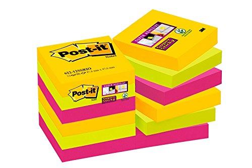 Post-it, Farbige Haftnotizen, 12er Pack Sticky Notes, Bunte Klebezettel und Haftnotizzettel, Notizzettel für Büro und Studenten, 12 Blöcke à 90 Post-Its, 48 x 48 mm