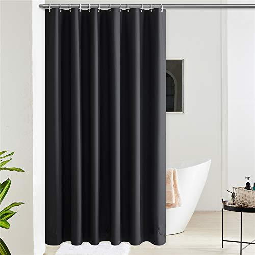 Furlinic Duschvorhang für Badewanne & Dusche in Badezimmer Wasserdicht Badvorhang Anti-schimmel aus Eva Schwarz mit 12 Ringe 180x210 Saum mit Steinen.
