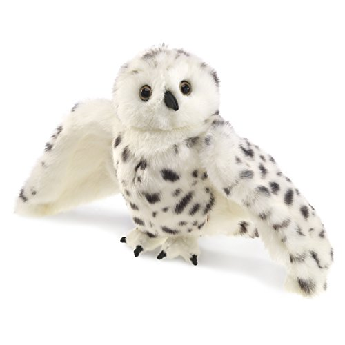 Folkmanis Snowy Owl Hand Puppet, Standard Packaging, White, Black