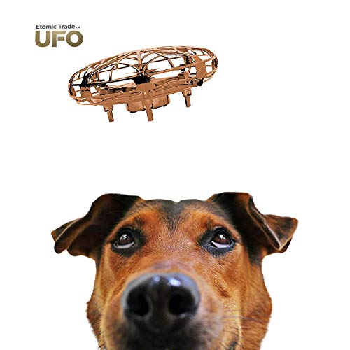 Etomic Trade Hand Operated Drones for Kids-Small Drone-UFO Toy-Mini Quadcopter-UFO Drone-High Tech-Hand Controlled-Boy Girl Toy-Alien Hovercraft-Drone Mini-Rechargeable-2 Speed with LED Lights (Gold)