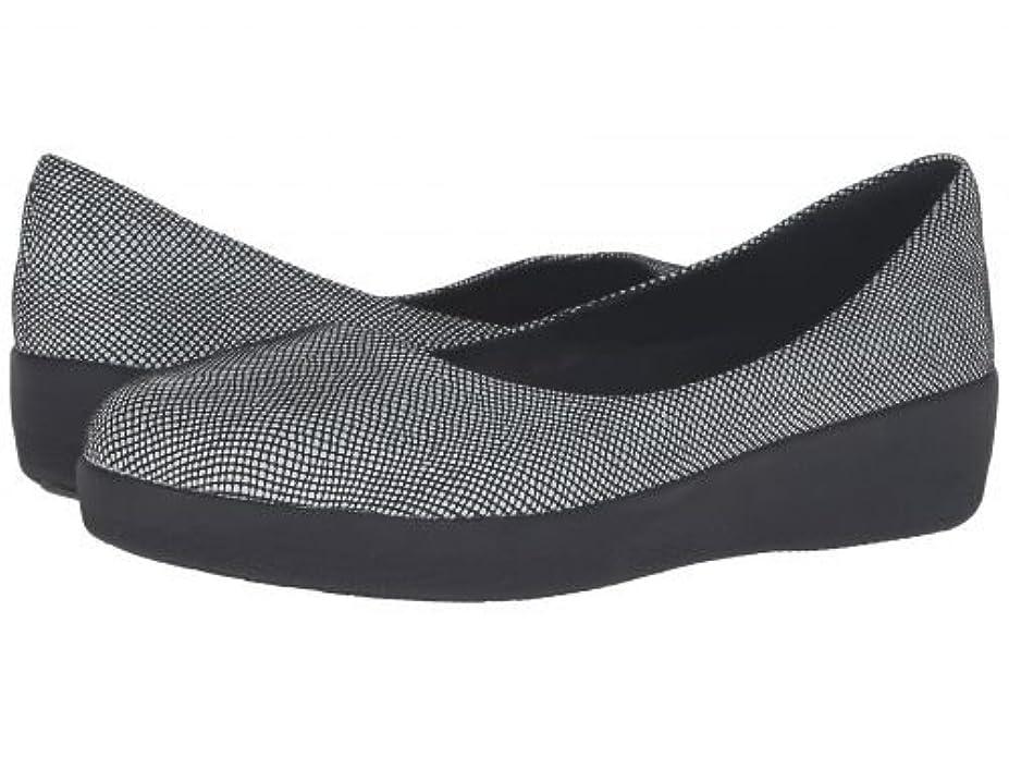 ホイットニー概して市民権FitFlop(フィットフロップ) レディース 女性用 シューズ 靴 フラット Suede Superballerina - Black Foil Snakeprint [並行輸入品]
