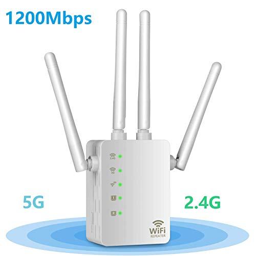 Aigital AC1200 WLAN Repeater Wi-Fi Verstaerker Range Extender Booster Dualband(5GHz,867Mbps+2.4GHz 300Mbps) Signalverstärker 4xflexible Externe Antennen WPS, Kompatibel mit Allen WLAN Geräten
