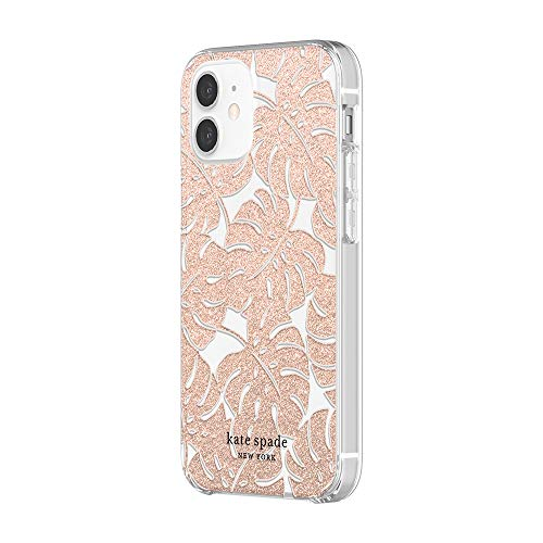 kate spade new york Protective Hardshell Case Compatible with iPhone 12 Mini - Island Leaf Pink Glitter/Clear/Blush Bumper