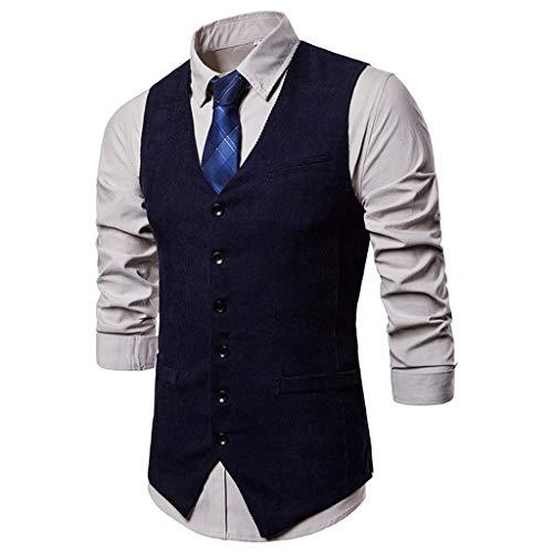 Herren Kordjacke Weste Anzugweste V-Ausschnitt Inawayls Herren Einfarbig Ärmellose Basic Slim fit Western Weste Elegent Anzug Business Freizeit