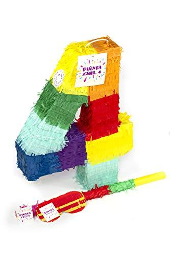 Trendario Zahl 4 Pinata Set, Pinjatta + Stab + Augenmaske, Ideal zum Befüllen mit Süßigkeiten und Geschenken - Piñata für Kindergeburtstag Spiel, Geschenkidee, Party, Hochzeit