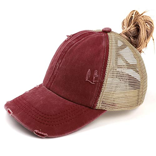 Womens Criss Cross Ponycap Distressed Messy High Bun Ponytail Baseball Cap Vintage Unconstructed Dad Hat Wine Red