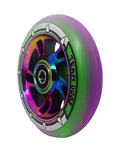 1 x Team Dogz 100mm Regenbogen Wirbel Alu Stund Roller Rad Mit Gemischt 88A PU Gummi Und Neo-chrom Öl Profilloser Jet-Fuel Kern - Grün & Violett PU