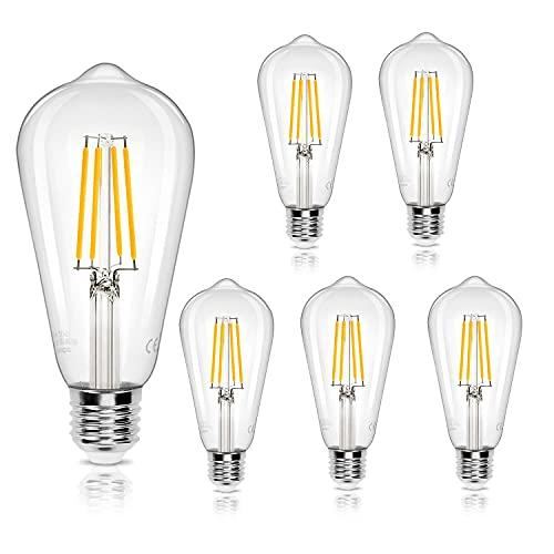 Aigostar Lampadina Led E27 da 8W (Equivalente a 69W),Lampadina a Filamento Led Bianco Caldo 2700K, 950 Lumens,Lampadina Stile Vintage Edison,Non Dimmerabile, Confezione Da 5 Unità