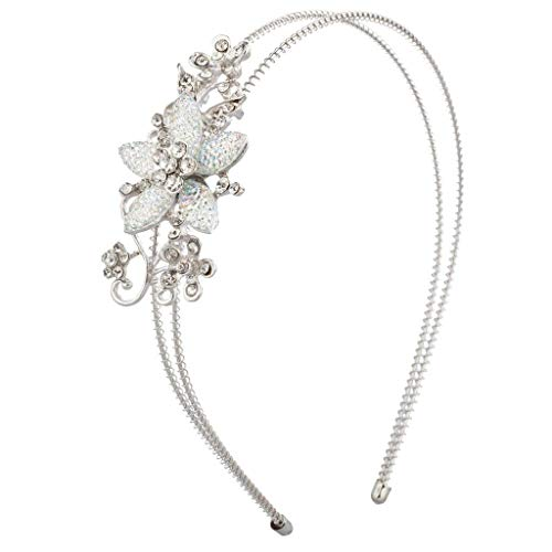 Lux Accessories Silvertone Glitter Flower Crystal Rhinestone Coil H