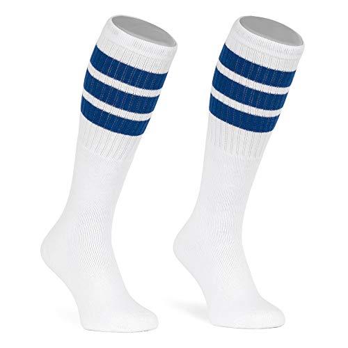 skatersocks 22 Inch Tube Socks weiß blau gestreift Skater Socken für Damen und Herren mit Streifen