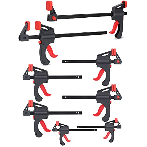 FASTPRO 8-Pack Bar Clamps Set, 12-Inch, 6-Inch and 4-Inch Assorted Size Clamps for Woodworking, One-Handed Clamp/Spreader, Light-Duty Wood Clamp Set with 150lbs Load Limit