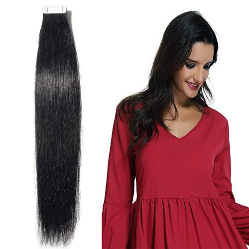 """20 Pcs Extension Adhesive Naturel Rajout Vrai Cheveux Humain Bande Adhesive Lisse (#01 Noir foncé, 22""""(55cm))"""