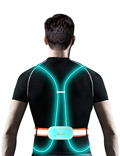Olook Multicolored Rechargeable LED Reflective Running Vest Light with Front light, Washable,Non-slip, Adjustable, Lightweight, Weatherproof, Safety Gear for Running Cycling,M-Orange(Patent Pending)