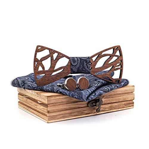 illimitable_Kleider Hochwertige Anpassung Herren Geschenk Einfache Exquisite Durchbrochene Fliege Premium Vintage Handgemachte Holzkragen Blume Schal ManschettenknöPfe Holzkiste Verpackung Schmuck