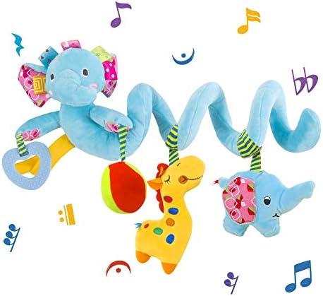 VX star Baby Pram Crib Ornament Hangings Blue Cute Little Elephant Shape Design Spiral Plush product image