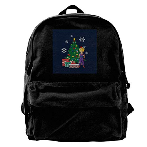 maichengxuan Canvas Backpack Gohan Around The Christmas Tree Rucksack Gym Hiking Laptop Shoulder Bag Daypack for Men Women