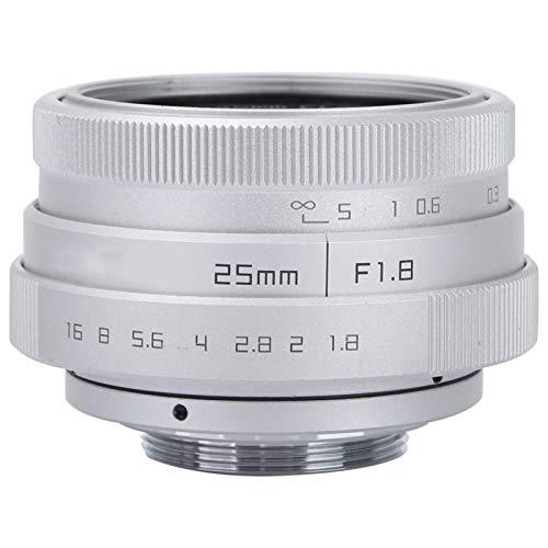 Wosune Lente Gran Angular para DSLR, Lente Gran Angular Duradera de aleación de Aluminio, Mini CCTV C de 25 mm F1.8 con Montura Negra para cámara Interior Sony NEX(Silver)
