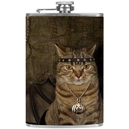 Un gato tiene a Wings - Termo plano para licor y embudo de acero inoxidable - Petaca para whisky