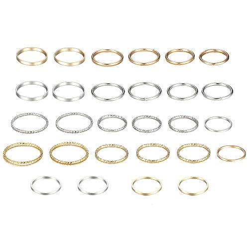 YADOCA Juego de 28 anillos de nudillos para mujeres y niñas, estilo vintage, apilables, anillos para el pulgar, anillos de plata y oro