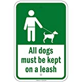 All Dogs Must Be Kept On A Leash 8'x12'...
