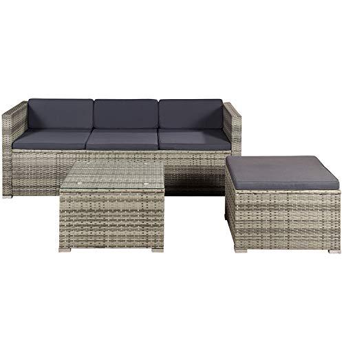ArtLife Polyrattan Lounge Punta Cana M grau-meliert – Gartenlounge Set für 3-4 Personen – Gartenmöbel-Set mit Sofa, Tisch und Hocker - Sitzbezüge in Dunkelgrau
