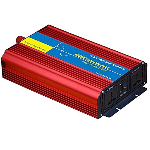 LONGRING Inversor de Potencia de Onda sinusoidal Pura 4000W / 6000W, Adaptador con convertidor Inteligente de identificación Inteligente de modificación de 12V / 24V a 220V,24v 220v 4000w