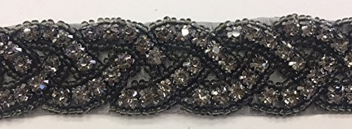 ModaTrims Hot-Fix or Sew-On Beaded Crystal Rhinestone Trim by Yard for Bridal Belt Wedding Sash (Black Crystals, Black Beads, Black Cups, 1 Yard x 1 Inch Wide )