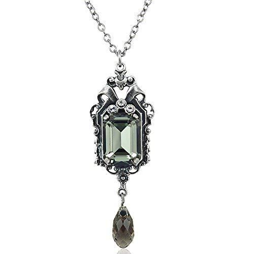 nobel-schmuck Kette Jugendstil mit Kristallen von Swarovski® Silber Grau