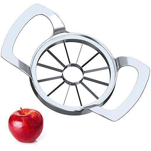 Apple Slicer Upgraded 2021, Cookfree 12-Blade Extra Large Apple Corer Peeler, Stainless Steel Ultra-Sharp Apple Cutter, Fruit Corer & Slicer, Divider, Wedger, Decorer Tool for Up to 4 Inches Apples