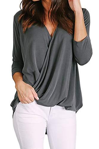 FreestyleMo damesblouse met V-hals, 3/4 mouwen, pullover, hemd, shirt, bovenstuk, tops