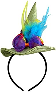 Mulitcolor Witch Hat with Flowers and Feathers Halloween Headband Accessories, 5 Inch