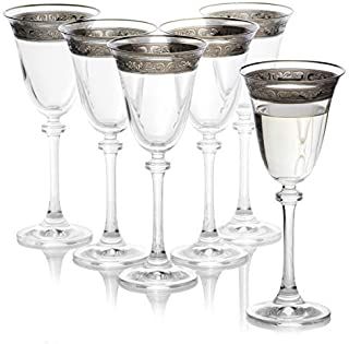 Decorative Crystal Wine Glasses Set of 6 / Painted, Aerating, Dailyware, Bohemia Crystal , Durable and Handcrafted / 6.25 ounces (185 milliliters)