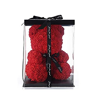 Siboya Red Artificial Flower Rose Teddy Bear Crystal Box Pure Handmade Rose Bear Gift Box is for Valentine's Day Mother's Day and Anniversary!10 inches