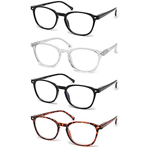 Vecien Occhiali da lettura anti luce blu , 4 paia di occhiali con montatura rettangolare, Occhiali per ipermetropia refrattiva uomo e donna, anti-affaticamento degli occhi (+1.50 Dioptrien)