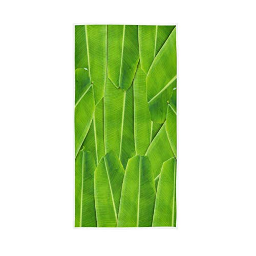 NBHBVGFC Toalla de baño tropical con hojas de plátano verde para hotel, spa, gimnasio, deporte, 76,2 x 38,8 cm