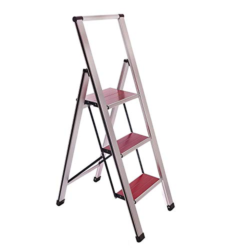 Sorfey Aluminum Folding 3 Step Ladder Stool for Adults, Anti Slip, Sturdy, Lightweight and Slim Design, Heavy Duty Stepping Stools, Silver/Mahogany