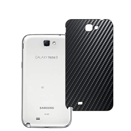 Vaxson 2 Unidades Protector de pantalla Posterior, compatible con Samsung Galaxy Note 2 II SC-02E, Película Protectora Espalda Skin Cover - Fibra de Carbono Negro