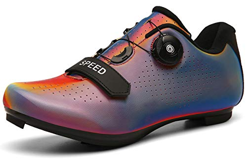 Cycling-Shoes Men Road Cycling Mountain Biking SPD/SPD-SL Compatible MTB Quick Lock Spinning Cleat Indoor Exercise Bike Breathable Stable Rider All-Surface Riding(Multicolor-red,9.5)